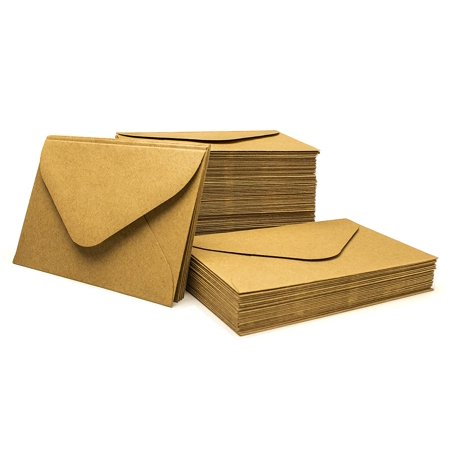 Bastex Kraft Envelopes, 4 inch x 2.75 inch. Small Brown Kraft Paper Envelopes. Perfect for Business Cards, Invitations, Postcard and More