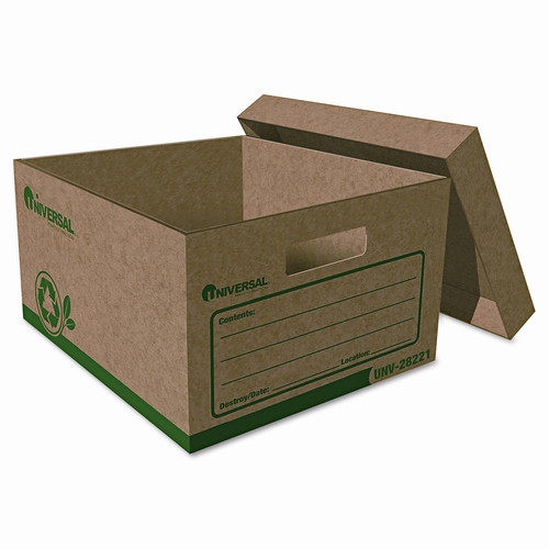 Universal Recycled Record Storage Box, Letter, 12 X 15 X 10, Kraft, 12/Carton