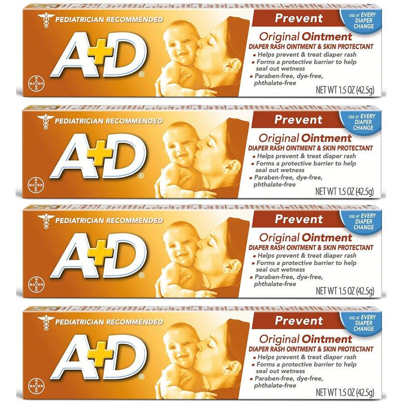 4 X A+D Original Ointment, Diaper Rash & Skin Protectant, 1.5 oz Tube