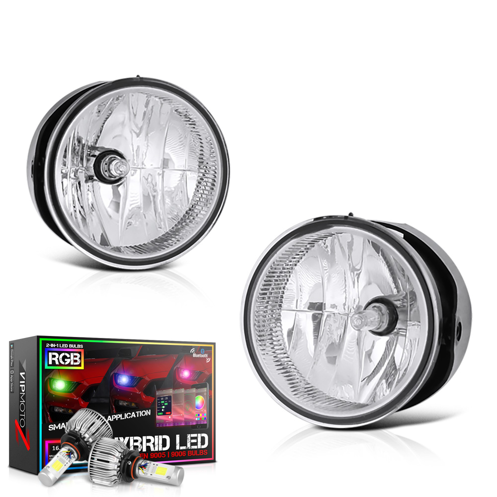 VIPMOTOZ Chrome Housing OE-Style Front Fog Light Driving Lamp Assembly For 2007-2014 Ford Expedition & Ranger - Power Switch & Universal Wiring Included, Driver & Passenger Side