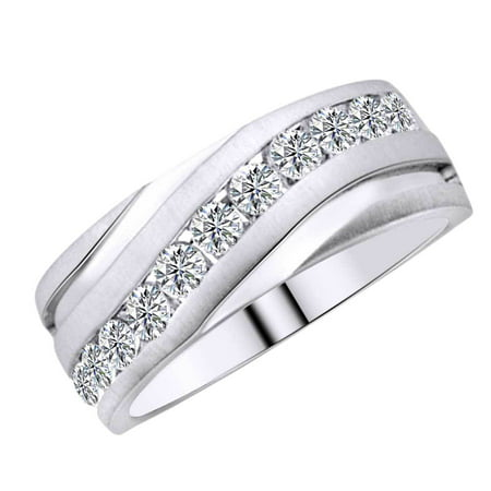 Round Shape White Natural Diamond Men's Band Ring In 10k White Gold (0.25 cttw) Ring Size-5