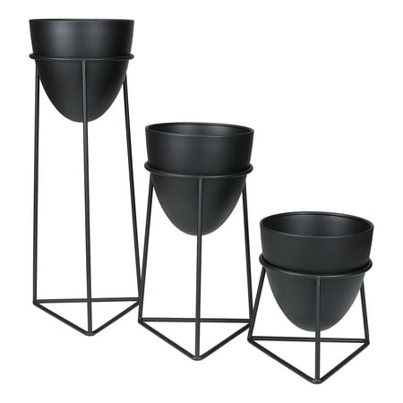 Mainstays Bullet 3-Piece Metal Planter Set with (Metal Planter Stand)
