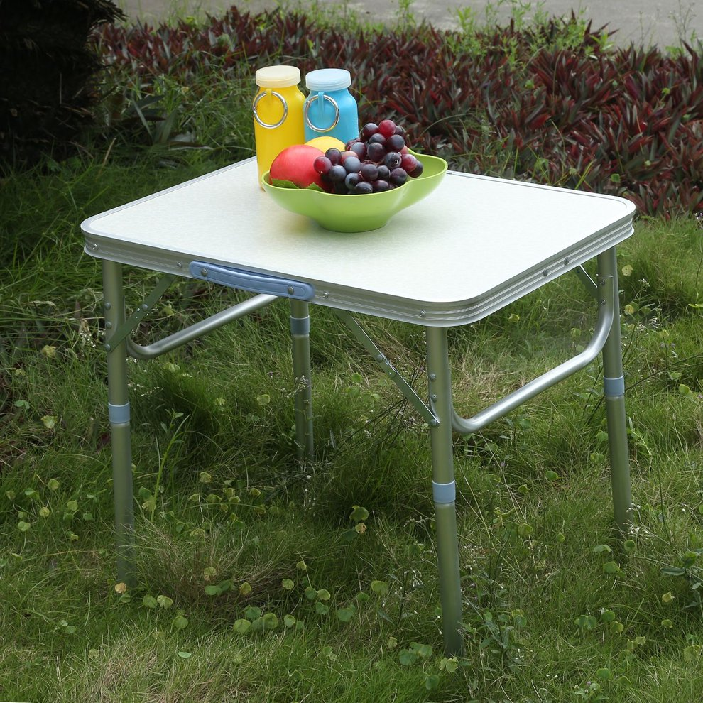Click here to buy Portable Lightweight Height Adjustable Folding Table Indoor Outdoor Picnic Party Dining Camping Table With Handle by LESHP.