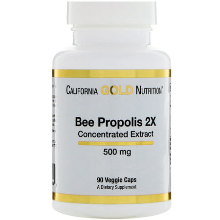 California Gold Nutrition  Bee Propolis 2X  Concentrated Extract  500 mg  90 Veggie Caps (Propolis Concentrate)