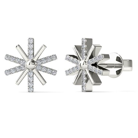 aaXia 10K White Gold 1/10ct TDW Diamond Sunburst Stud Earrings