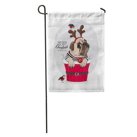 Dog Nose Mask (LADDKE Christmas Pug Dog in Santa Deer Mask Funny Red Nose Garden Flag Decorative Flag House Banner 12x18)