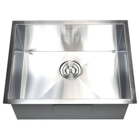 26-inch Stainless Steel 16 Gauge Single Bowl Undermount Zero Radius Kitchen Bar Island Sink
