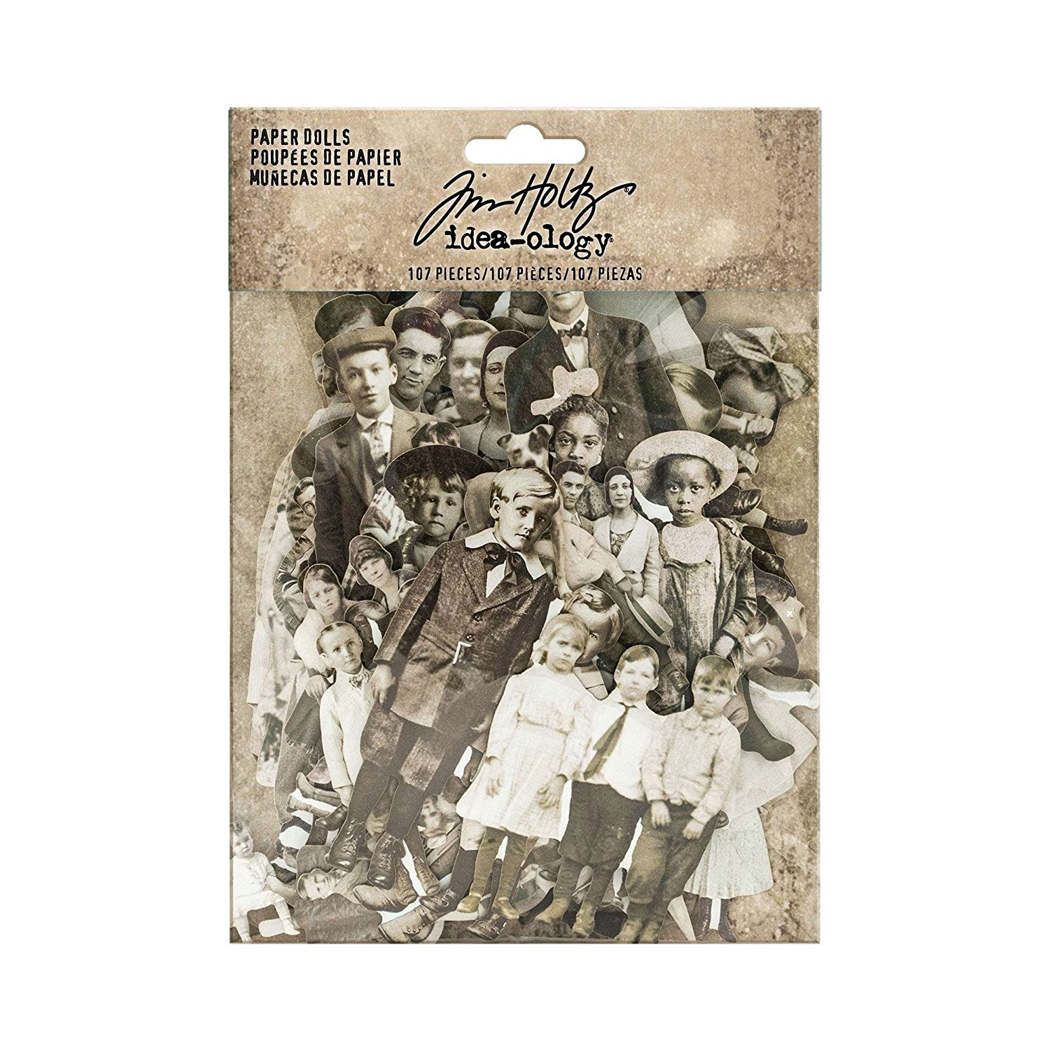 Paper Dolls by Idea-ology, Card Stock, 107 Dye-Cut Printed Pieces (TH93555), A gathering of clipped vintage portraits used in collage or mixed media By Tim Holtz