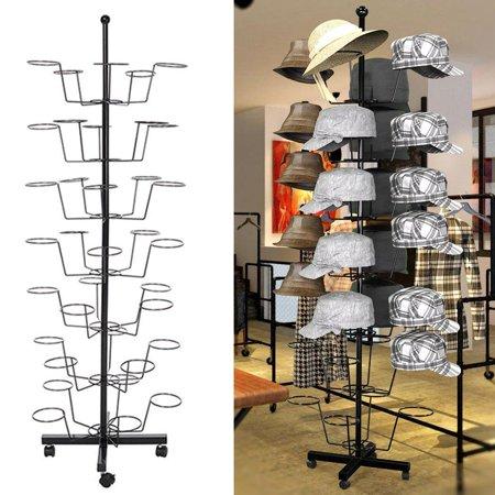 dcc0b243395 7 Tier Hat Display Rack Stand Rotating Hat Rack Adjustable Metal Free  Standing Floor Stand for