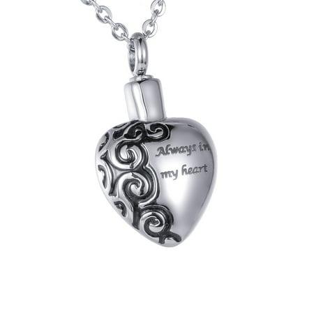 Always In My Heart Memorial Jewelry Pendant Keepsake Memorial Urn