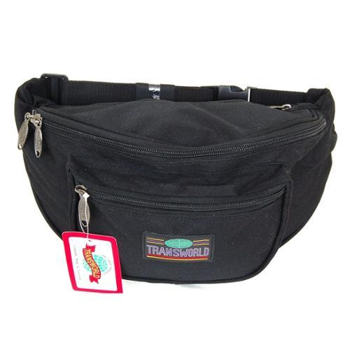 Canvas Fanny Pack Travel Clutch Waist Bag Large Purse Adjustable Strap Tote Bag Black One Size