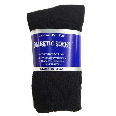 Black Diabetic Crew Socks (Creswell 3 Pairs Of Mens Black Diabetic Crew Socks 10-13 Size )