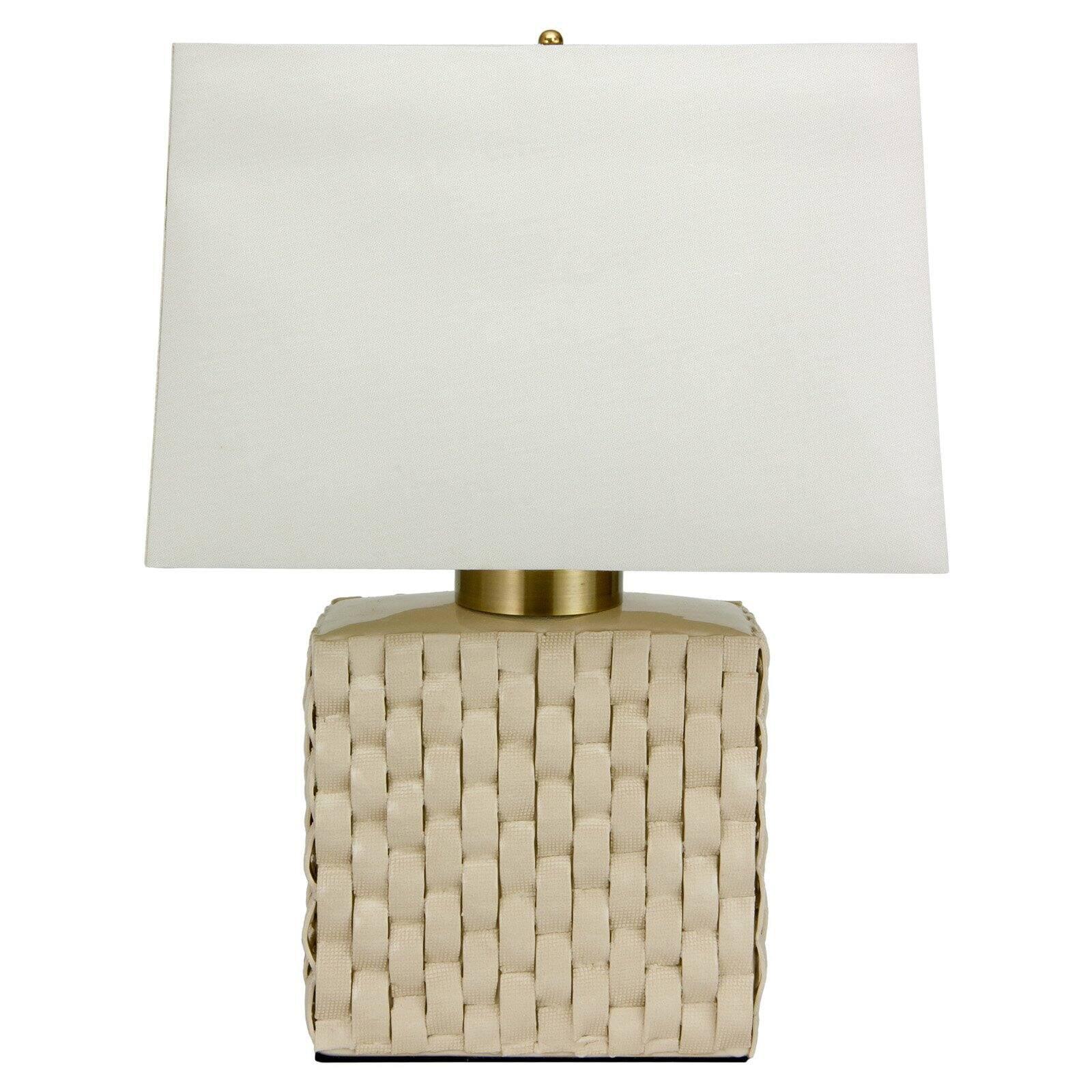 Oriental Furniture Basket Weave Cream Porcelain Jar Table Lamp
