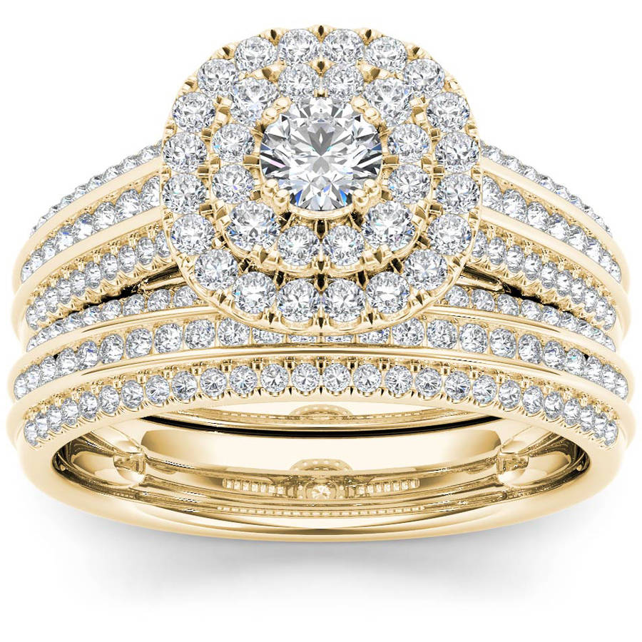 1 Carat T.W. Diamond Double Halo 10kt Yellow Gold Engagement Ring Set