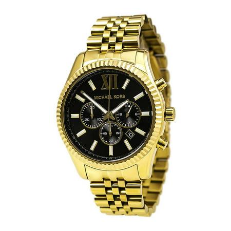 MK8286 Men's Lexington Black Dial Yellow Gold Steel Bracelet Chrono Watch ()