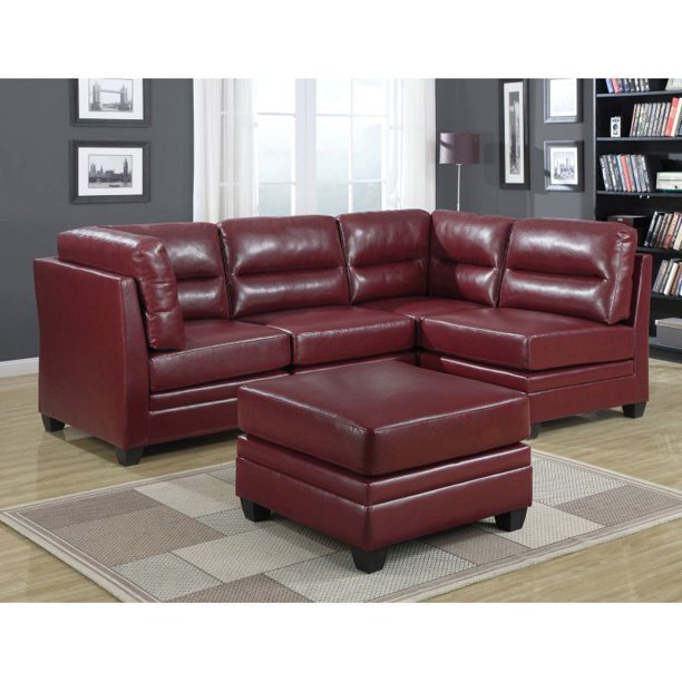 Monarch Specialties Bonded Leather Armless Accent Chair In