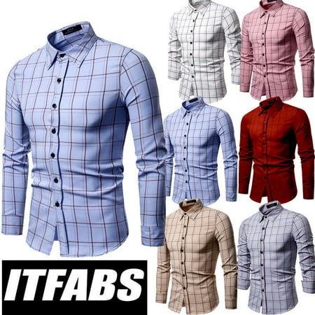 9adab699f0f1e Urkutoba - Fashion Mens Luxury Casual Stylish Slim Fit Long Sleeve Casual  Dress Shirts Tops - Walmart.com