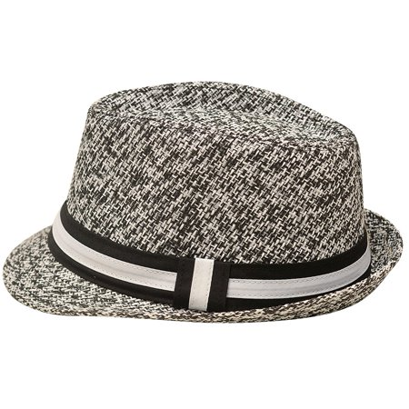 Sophias Style Unisex Junior Adult Black Grosgrain Ribbon Fedora Summer Hat - Fedora Hats For Kids