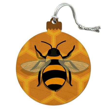 Bee on Honeycomb Wood Christmas Tree Holiday Ornament](Bee Ornaments)