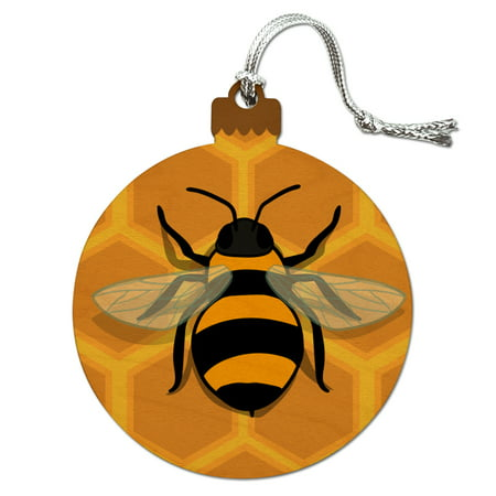 Bee on Honeycomb Wood Christmas Tree Holiday Ornament ()