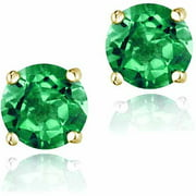 2.1 Carat T.G.W. Created Emerald 18kt Gold over Sterling Silver Stud Earrings, 6mm