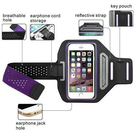 iPod Touch 6th Gen Case, Touch 5 Gen Case, Coverlab Multifunctional Outdoor Sports Armband Casual Arm Package Bag Cell Phone Bag Key Holder For iPod iTouch 5/iTouch 6 - Purple