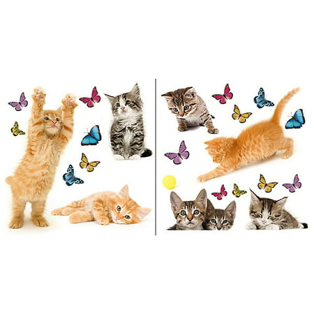 Home Decor Line Playful Cats and Butterflies Window Decal