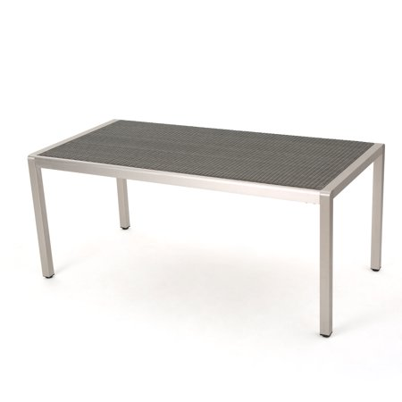 Coral Bay Outdoor Aluminum Dining Table with Wicker Top, Grey ()