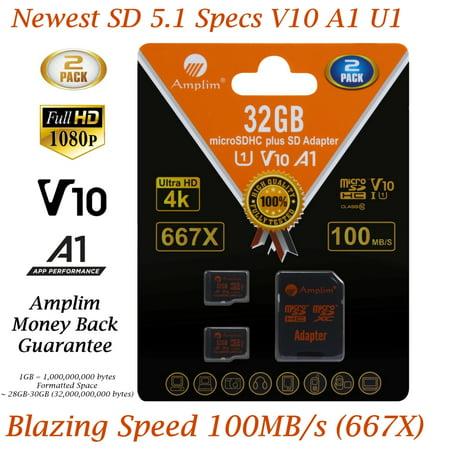 - 2 Pack 32GB Micro SD Card plus Adapter. Amplim 100MB/s MicroSDXC Card V10 A1 U3 Class 10 MicroSD Memory Card for GoPro, Cell Phones, Samsung Galaxy, LG, Sony Xperia, DJI, Drones, Cameras, Nintendo