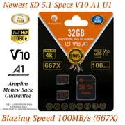 2 Pack 32GB Micro SD Card plus Adapter. Amplim 100MB/s MicroSDXC Card V10 A1 U3 Class 10 MicroSD Memory Card for GoPro, Cell Phones, Samsung Galaxy, LG, Sony Xperia, DJI, Drones, Cameras, Nintendo