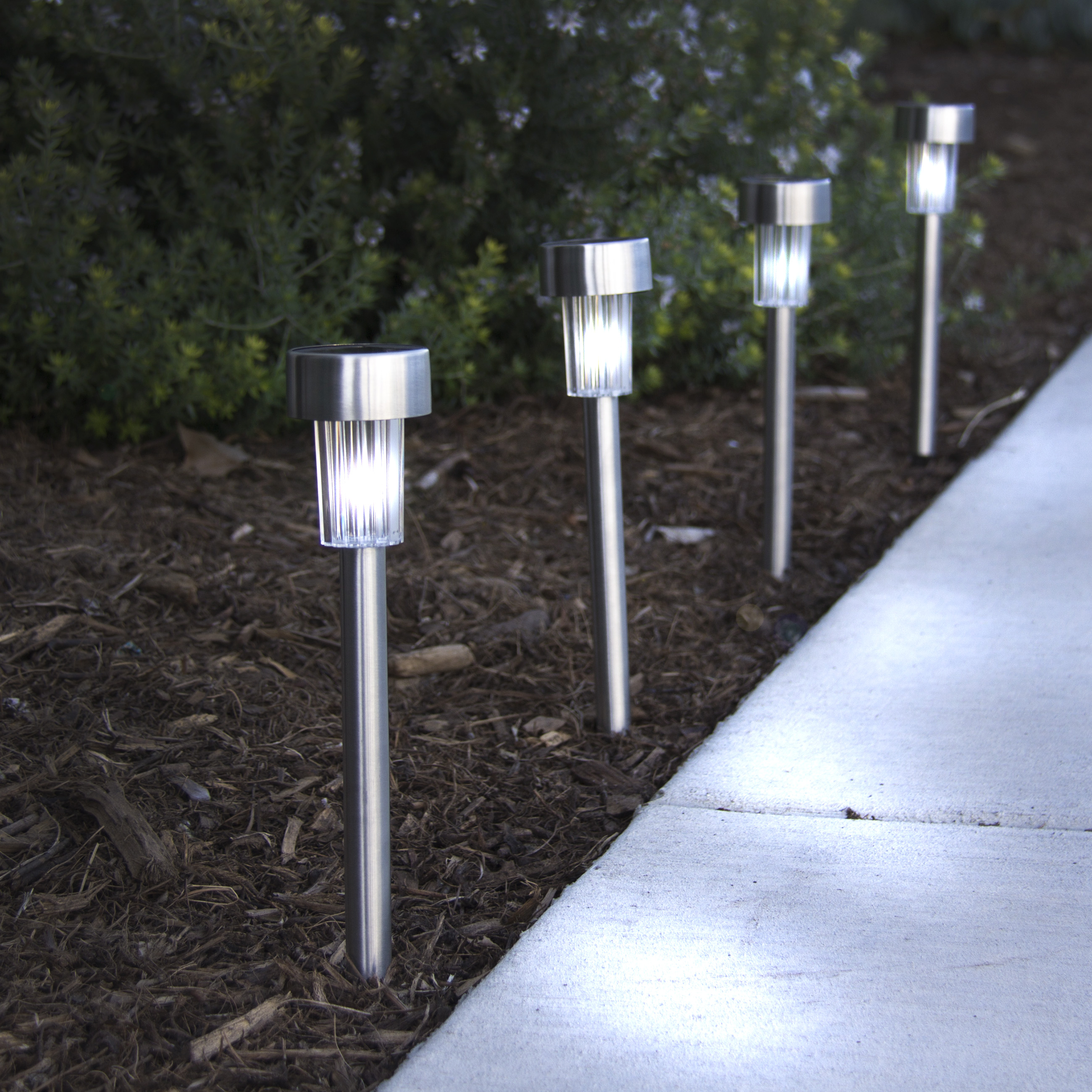24 White Color Solar Power Stainless Steel LED Lights Pathway Landscape Garden by