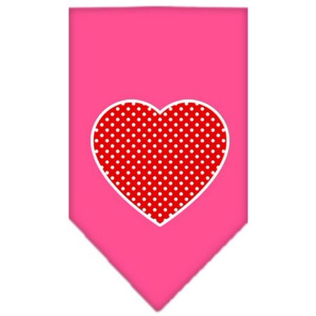 Red Swiss Dot Heart Screen Print Bandana Bright Pink Large (Red Swiss Dot)
