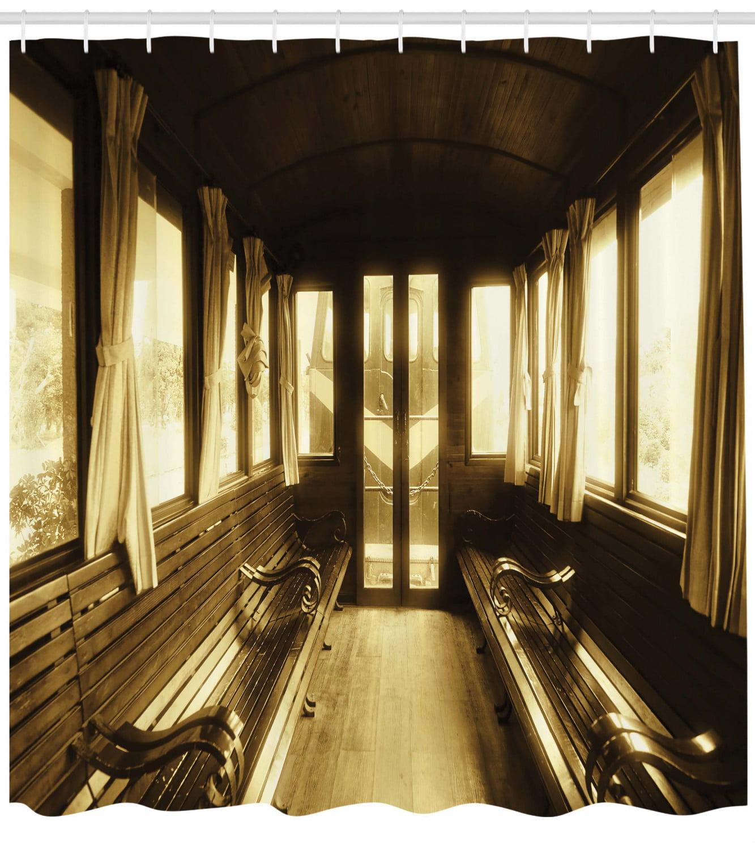 Antique Decor Vintage Train Shower Curtain Mildew Resistant Polyester