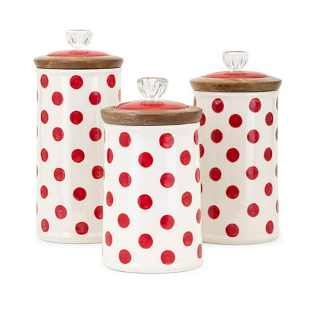 Trisha Yearwood Berry Patch Polka Dot Canisters - Set of (Berry Patch)