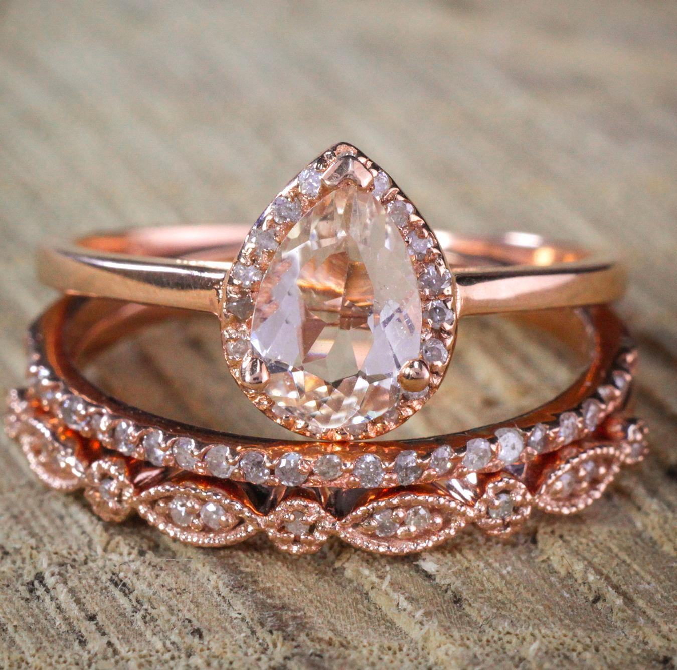 Sale on 2.25 carat Pear shape Morganite and Diamond Halo Trio Bridal Wedding Ring Set Antique Vintage Design Milgrain in... by JeenJewels