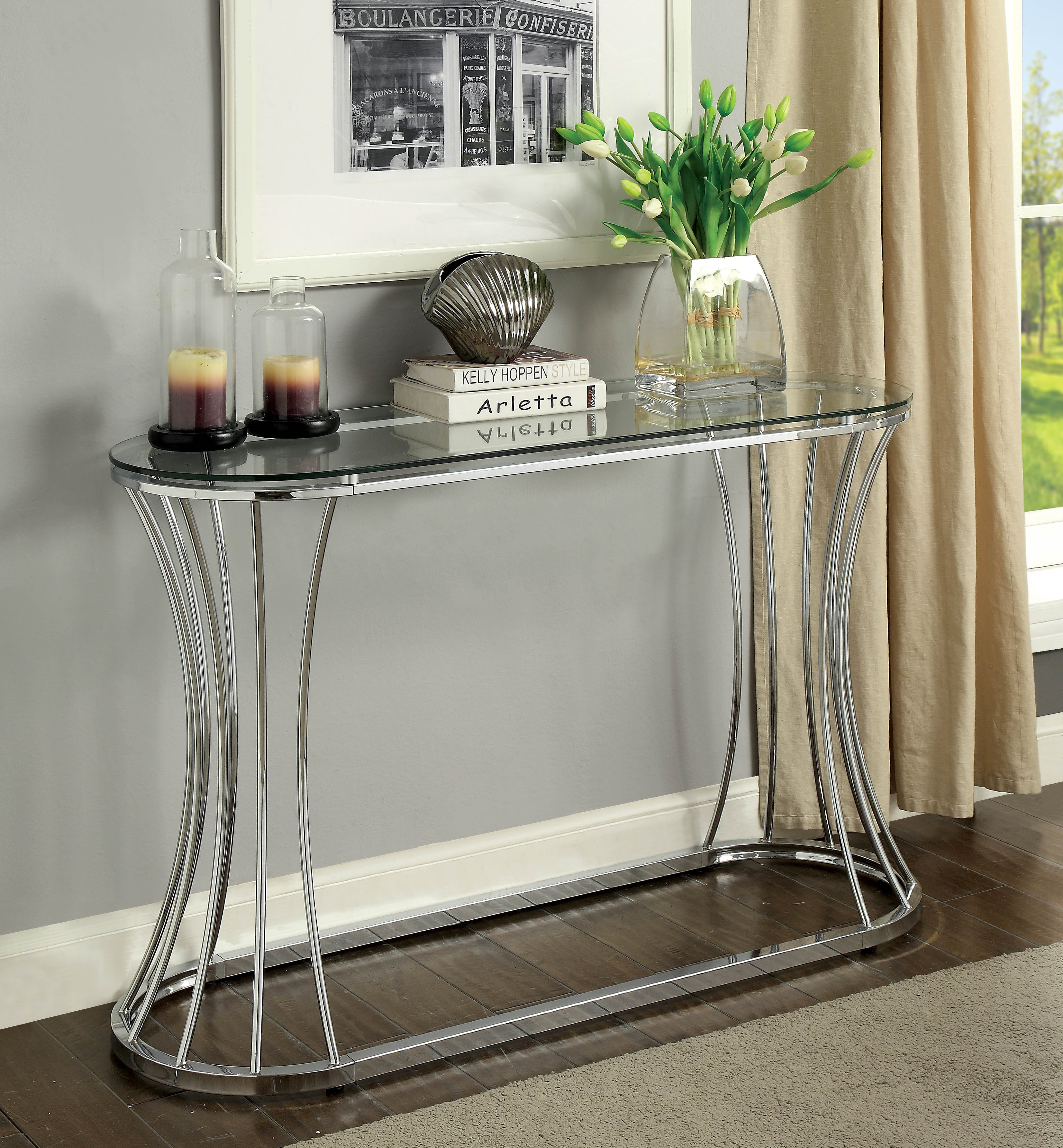 Furniture Of America Rocca Curved Chrome Glass Sofa Console Table