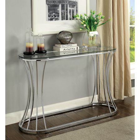 Curved End Console - Furniture of America Rocca Curved Chrome Glass Sofa Console Table