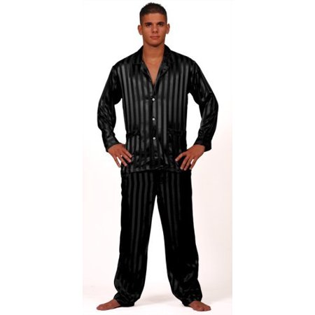 Intimo Men's Solid Jacquard Stripe Silk Pajama, Black, Large Jacquard Silk Tie Gucci Clothing