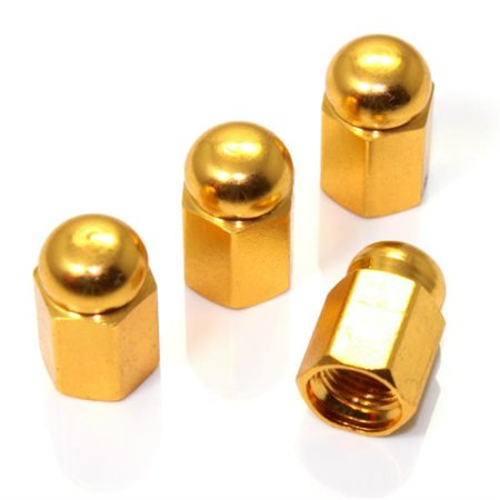 Chrome Dome Cap (Gold Hex Dome Wheel Tire Pressure Air Stem Valve Caps - Pack 4)