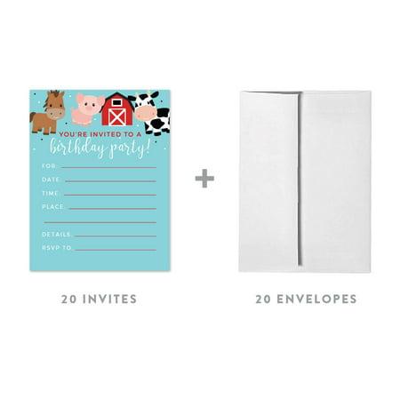 Red Farmhouse Barnyard Birthday, Blank Invitations with Envelopes, 20-Pack - Farm Invitations