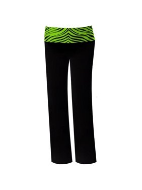 Pizzazz 9150ZG -BLKLIM-YS 9150ZG Youth Roll-Down Waist Pants, Black with Lime Zebra - Small