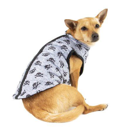 Simplydog Gray Tossed Skull Bomber Jacket for Dogs, - Dog Sugar Skull