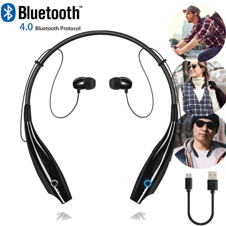 (Universal Wireless Bluetooth Headset Headphones Stereo Neckband Sports Earbuds with Mic for Cell Phone - Black)