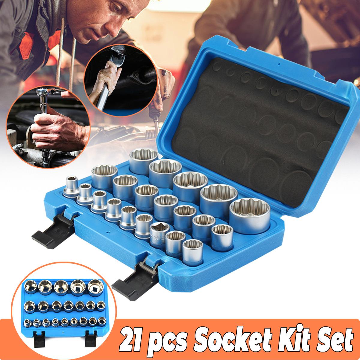 21Pcs 1/2'' Inch Drive Shallow 12P Socket Set 8mm - 36mm Garage Workshop Tool