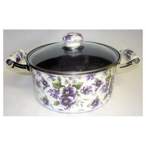 Danico Enamel 4.5 Quarter Stockpot in Purple Flowers