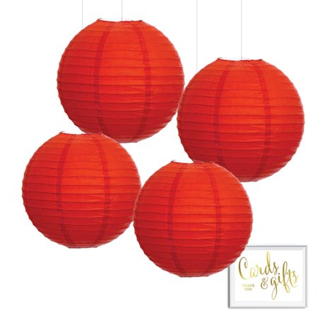 Andaz Press Hanging Paper Lantern Party Decor Kit with Free Party Sign, Red, - Party Lanterns