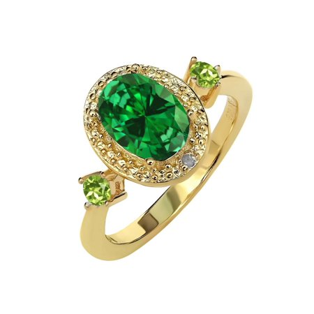 2.25 Ct Green Simulated Emerald Green Peridot 18K Yellow Gold Plated Silver Ring - image 2 of 2