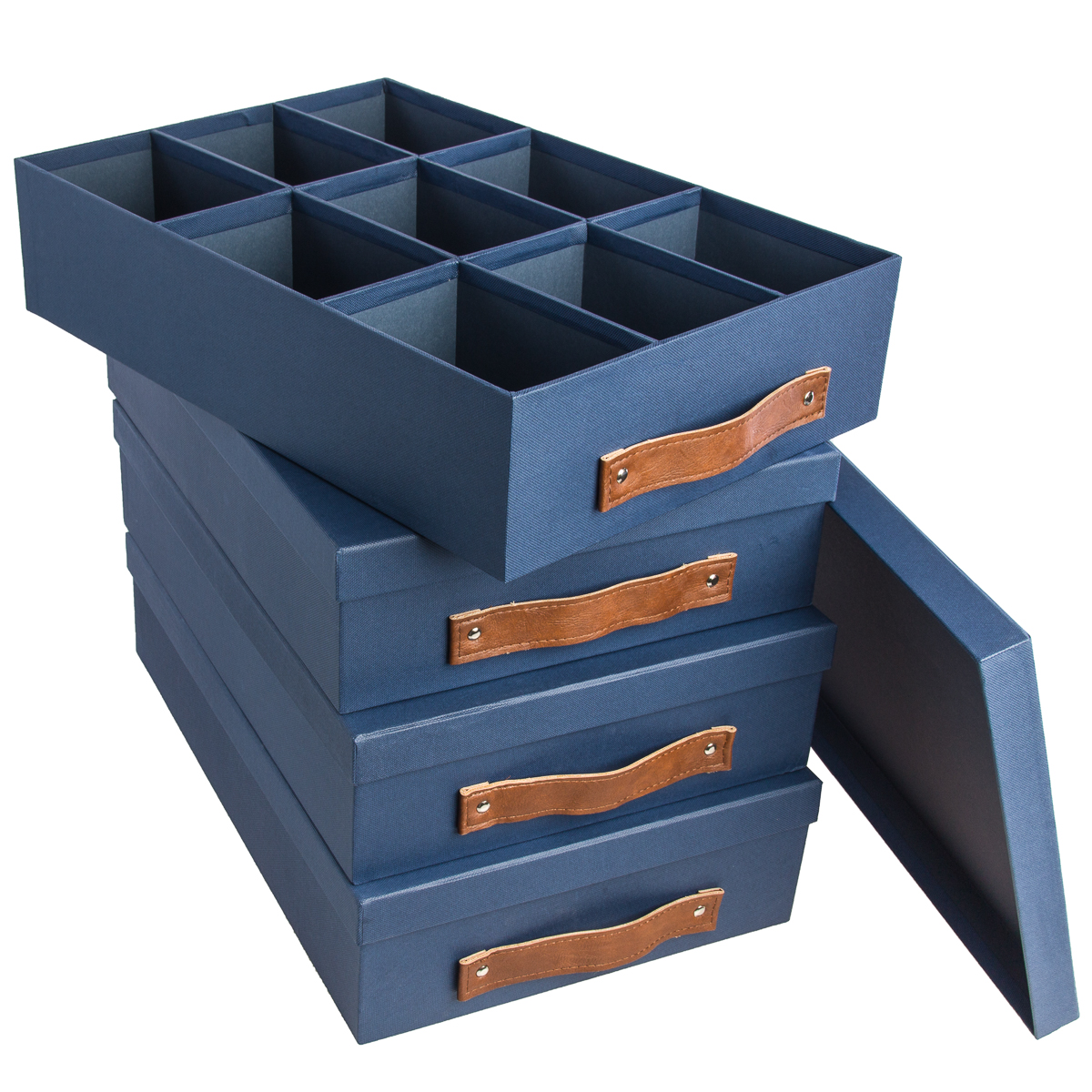 4 Pack 17x12 Canvas Storage Box Storage Containers Set with Lids