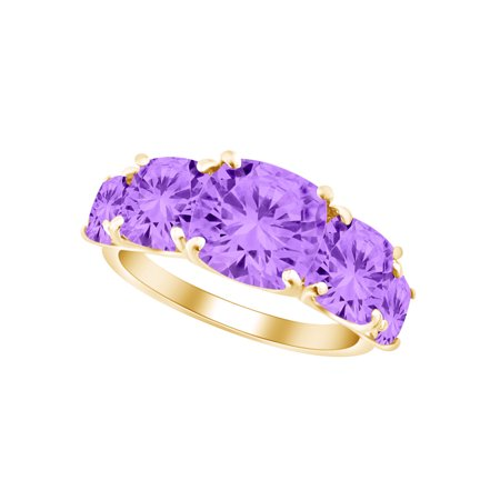 Cushion Shape Simulated Amethyst Five Stone Engagement Wedding Ring In 10k Solid Yellow Gold Ring Size-9