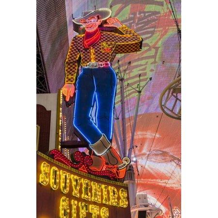 Vegas Vic Cowboy Neon Sign, Fremont Experience, Las Vegas Print Wall Art By Michael DeFreitas